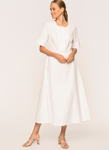 Loves You Kısa Kol Düğmeli Maxi Boy Poplin Elbise Beyaz